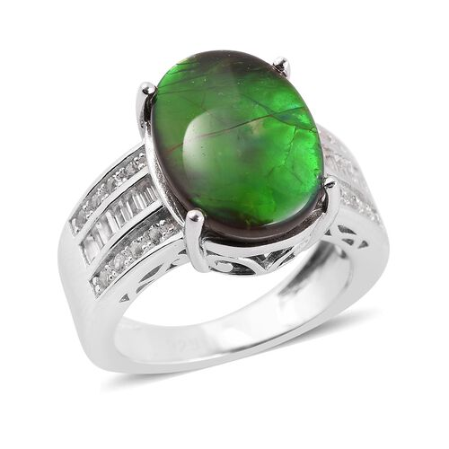 AA Canadian Ammolite (Ovl 14x10mm), White Topaz Ring in Rhodium Overlay Sterling Silver.