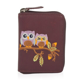 Happy Owl Embroidered 100% Genuine Leather Rich Purple Colour RFID Wallet (Size 11x2x8 Cm)