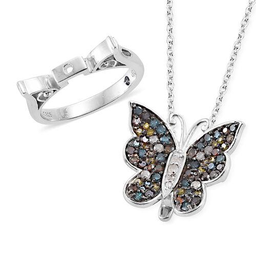 GP Multi Colour Diamond (Rnd), Kanchanaburi Blue Sapphire Butterfly Pendant with Chain (Size 18) and