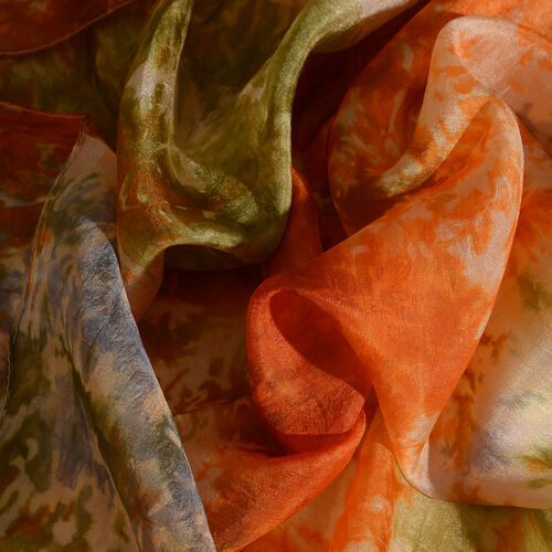 Last In Stock - 100% Mulberry Silk Orange, Blue and Multi Colour Handscreen Printed Scarf (Size 180x50 Cm)