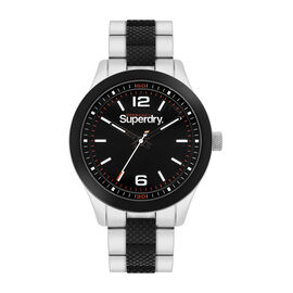 Superdry Scuba Sport Round Dial Analog Watch in Black and Silver Tone
