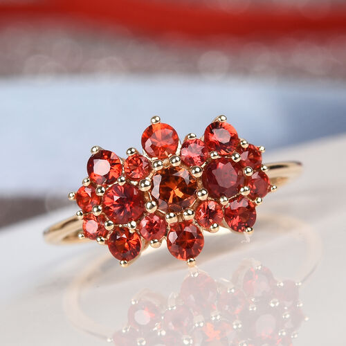 Extremely Rare AAA Red Sapphire Boat Ring in 9K Yellow Gold 1.25 Ct.