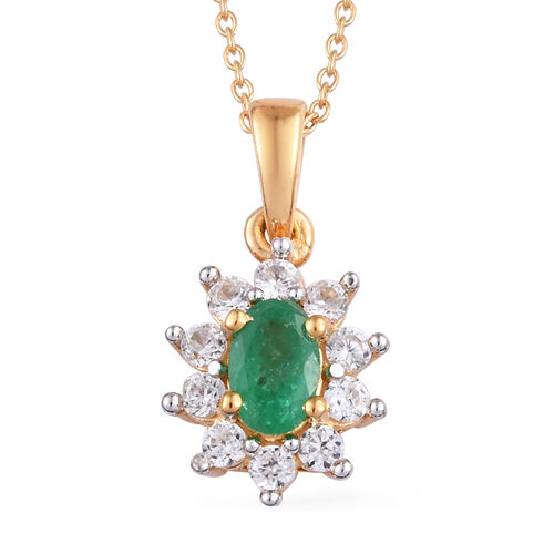 Kagem Zambian Emerald (Ovl), Natural Cambodian Zircon Pendant With Chain (Size 20) in 14K Gold Overl