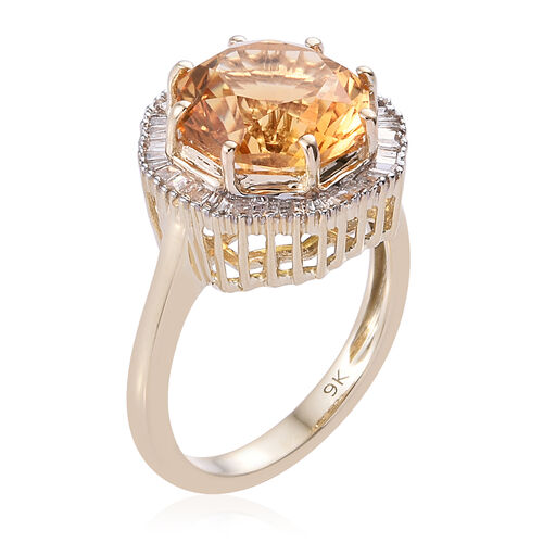 WEBEX- 9K Yellow Gold AA Citrine (Oct 3.700 Ct) Diamond Ring 4.000 Ct.