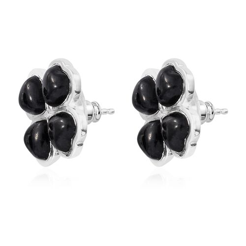 Burmese Black Jade (Hrt) Clover Stud Earrings (with Push Back) in Sterling Silver 8.000 Ct.