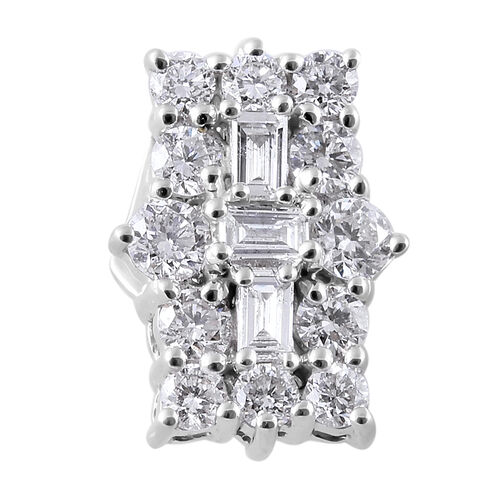ILIANA 18K White Gold IGI CERTIFIED Diamond (Bgt and Rnd) (SI/G-H) Pendant 0.500 Ct.