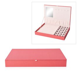 Leatherette Red Rectangular Jewellery Box with 13 Ring Rows, 24 Sections and Mirror Inside (Size 35x