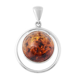 Bi- Colour Champagne Baltic Amber (Rnd) Pendant in Sterling Silver, Silver wt 5.80 Gms