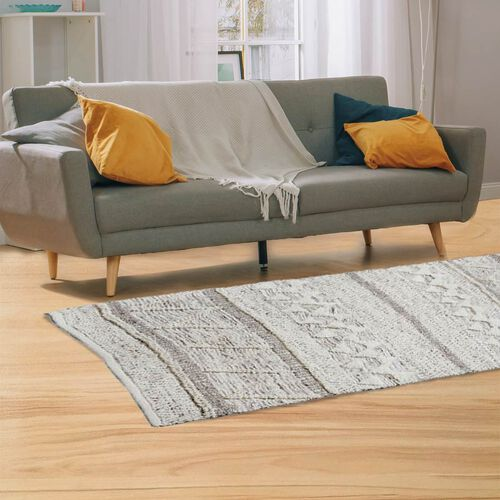 Hand Woven Wool and Cotton Carpet (Size 200x140 Cm) - Brown