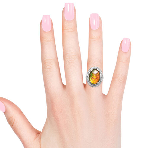 AA Canadian Ammolite (Ovl 18x13 mm), Natural White Cambodian Zircon Ring in Platinum Overlay Sterling Silver.
