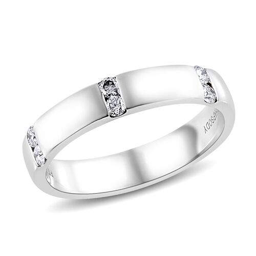 RHAPSODY 950 Platinum IGI Certified Diamond (Rnd) (VS/E-F) Band Ring 0.200 Ct., Platinum wt 5.98 Gms