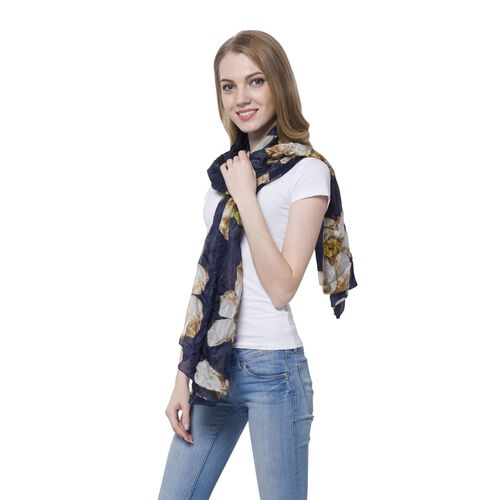 100% Mulberry Silk White, Yellow and Multi Colour Floral Pattern Dark Blue Colour Scarf (Size 175x110 Cm)