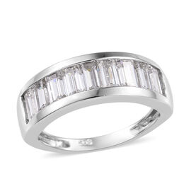 J Francis - Platinum Overlay Sterling Silver (Bgt) Half Eternity Band Ring Made with SWAROVSKI ZIRCO