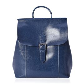 100% Genuine Leather Navy Colour Backpack with External Zipper Pocket (Size 25x12x30 Cm)