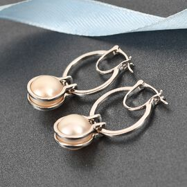 Golden South Sea Pearl Earrings (with Clasp) in Platinum Overlay Sterling Silver