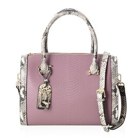 100% Genuine Leather Snake Skin Pattern Tote Bag with Removable and Adjustable Shoulder Strap (Size 30x25x12.5 Cm) in Purple with Black and Cream Colour