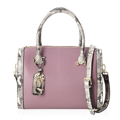 Close Out Deal 100% Genuine Leather Purple Colour Snake Skin Pattern Tote Bag with Removable and Adjustable Shoulder Strap (Size 30x25x12.5 Cm)