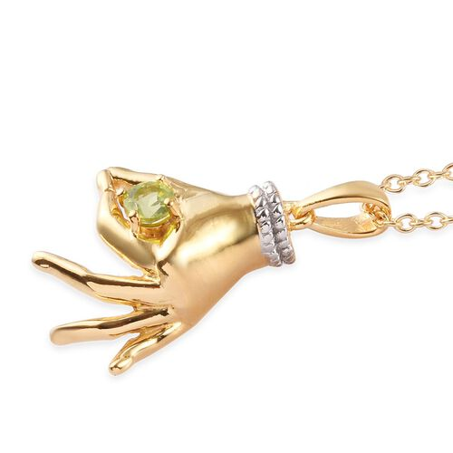 AA Hebei Peridot Mudra Hand Pendant With Chain (Size 20) in Yellow Gold and Platinum Overlay Sterling Silver 0.35 Ct, Silver wt. 8.50 Gms