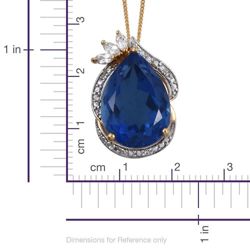 Ceylon Colour Quartz (Pear 12.72 Ct), White Topaz Pendant with Chain in 14K Gold Overlay Sterling Silver 13.000 Ct.