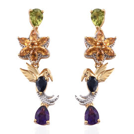 GP Citrine (Mrq), Multi Gemstone Earrings (with Push Back) in 14K Gold Overlay Sterling Silver 4.950 Ct, Silver wt 6.98 Gms