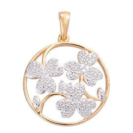Designer Inspired- Diamond 14K Gold Overlay Sterling Silver Arrowhead Floral Pendant