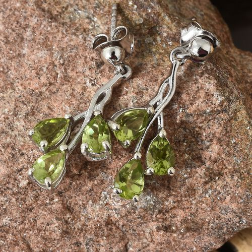 Hebei Peridot (Pear) Earrings (with Push Back) in  Platinum Overlay Sterling Silver Earring  3.000  Ct.
