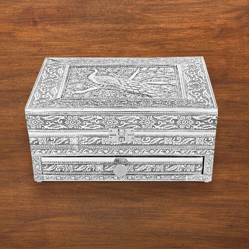 3D Embossed Collection Handcrafted Peacock Design Oxidised Jewellery Box with Drawer Chest (Size 22.8x15.2cm)