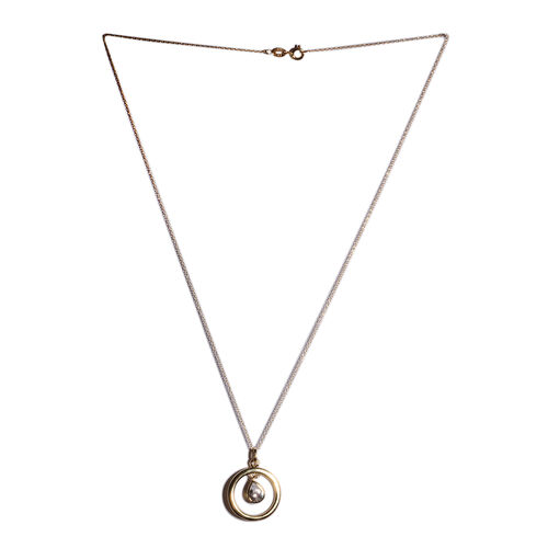 ELANZA Simulated Diamond (Pear) Pendant with Chain in Yellow Gold Overlay Sterling Silver