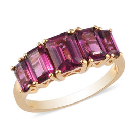 Rhodolite Garnet 5-Stone Ring in 14K Gold Overlay Sterling Silver 3.25 Ct.