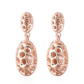 RACHEL GALLEY Rose Gold Overlay Sterling Silver Pebble Lattice Drop Earrings (with Push Back), Silve