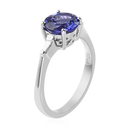RHAPSODY 950 Platinum AAAA Tanzanite and Diamond (VS/E-F) Ring 1.60 Ct.
