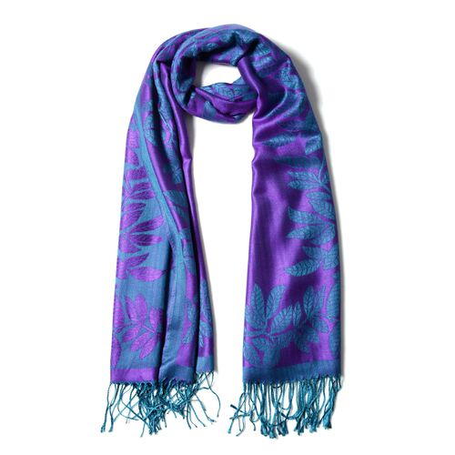 Purple and Green Colour Scarf with Leaf Pattern (Size 180X68 Cm)