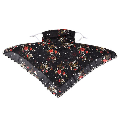 2 in 1 Flower Pattern Chiffon Soft Feel Scarf and Protective Face Covering (Size 45x45 Cm) - Red and Black