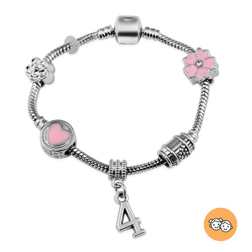 Children Happy 4 Birthday Charms Bracelet in White Austrian Crystal Size 6.5 with Silver Tone