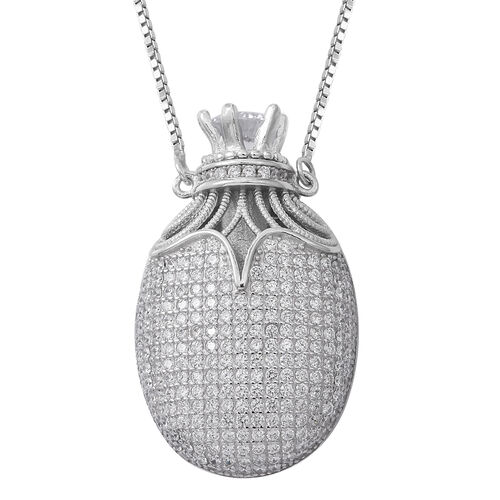 ELANZA Simulated White Diamond (Rnd) Adjustable Necklace (Size 16 to 30) in Rhodium Plated Sterling Silver 4.000 Ct. Silver wt 16.51 Gms. Number of Simulated Diamonds 262