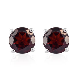 Mozambique Garnet (Rnd) Earrings (with Push Back) in Platinum Overlay Sterling Silver 3.000 Ct.