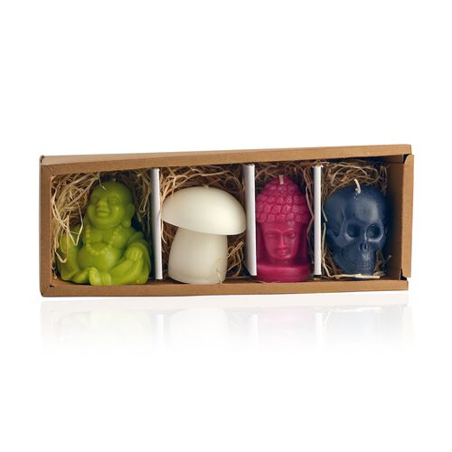 Home Decor Set of 4- Decorative Candles White Colour Mushroom, Red Colour Buddha, Black Colour Skull and Green Colour Laughing Buddha Shape