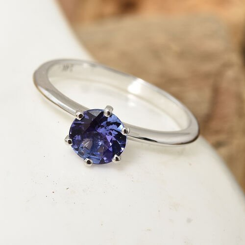 Close Out Deal-14K White Gold AA Tanzanite (Rnd) Solitaire Ring 0.850 Ct.