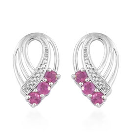 African Ruby (Rnd) Stud Earrings with Push Back in Platinum Overlay Sterling Silver