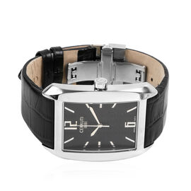 CERRUTI 1881: Calisto Swiss Parts Mens Watch with Leather Strap - Swiss Parts - Black and Silver. Wa