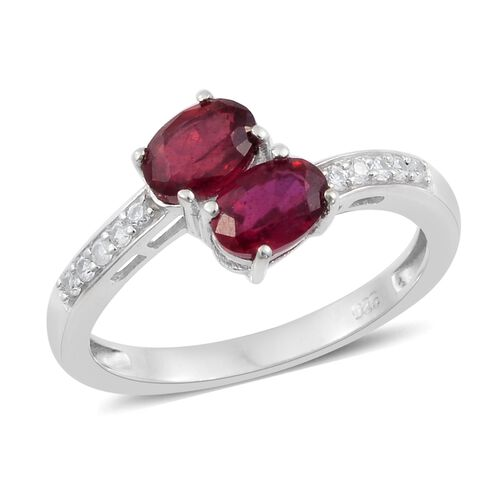 African Ruby (Ovl), Natural Cambodian Zircon ByPass Ring in Platinum Overlay Sterling Silver 2.500 C