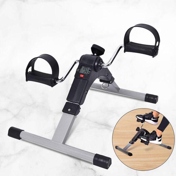Folding Pedal Exerciser Mini Exercise Bike with Adjustable Tension Knob (Size 37x49.5x23.5 cm) - Bla