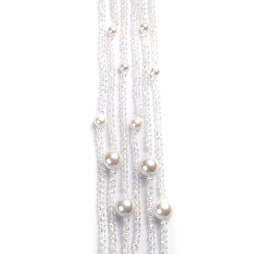 White Shell Pearl and Simulated White Topaz 3-Row Necklace (Size 32 with 3 inch Extender) in Silver Tone