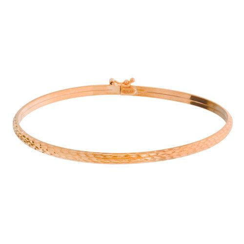 Vicenza Collection- Designer Inspired 9K Rose Gold Diamond Cut Bangle (Size 7)