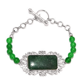 39.75 Ct Green Aventurine and Green Agate Beaded Bracelet in Platinum Plated 7.5 Inch