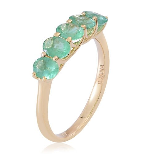 ILIANA 18K Yellow Gold AAAA Kagem Zambian Emerald (Ovl) 5 Stone Ring 1.500 Ct.