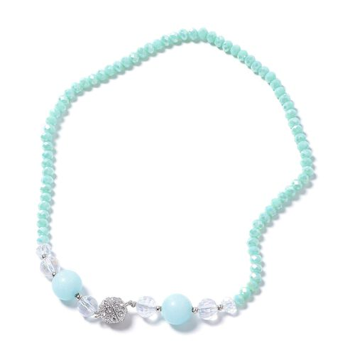 Set of 2 - Aquamarine Color Quartsite, Simulated Larimar, Simulated Diamond, White Austrian Crystal and Multi Colour Beads Necklace (Size 18) and Bracelet (Size 8) in Silver Bond