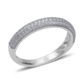 ELANZA Simulated Diamond (Rnd) Half Eternity Band Ring in Rhodium  Overlay Sterling Silver, Silver w
