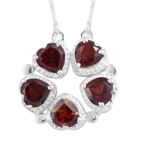 Mozambique Garnet (Hrt) 5 Stone Necklace (Size 18) in Sterling Silver 3.000 Ct. Silver wt 3.65 Gms.