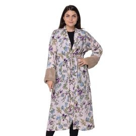Long Size Floral Pattern Robe with Faux Fur Cuff (Size 121.9x61 Cm) - Pink
